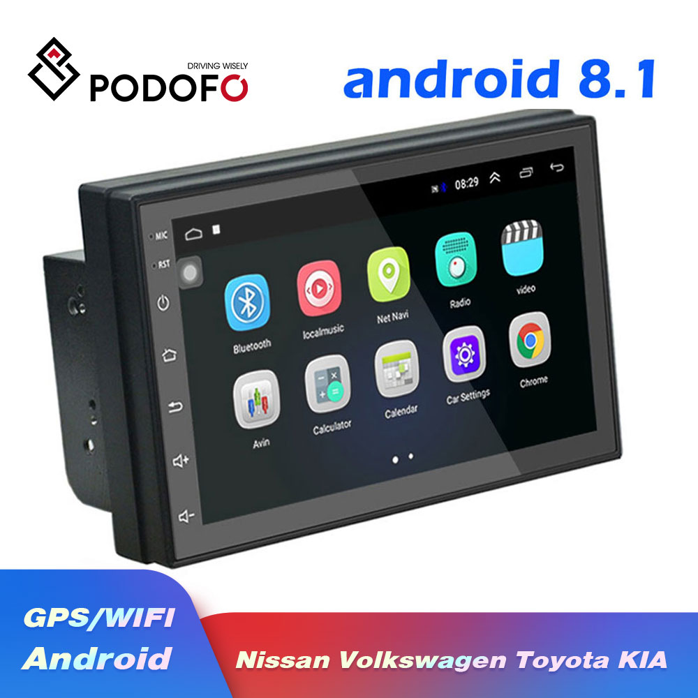 Lecteur vidéo multimédia Podofo Android 8.1 2 Din autoradio universel stéréo GPS pour Volkswagen Nissan Hyundai Kia toyota