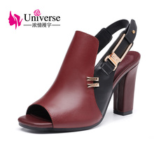 hot deal buy universe patchwork woman sandals genuine leather casual shoes super high heel shoes with metal decoration e080
