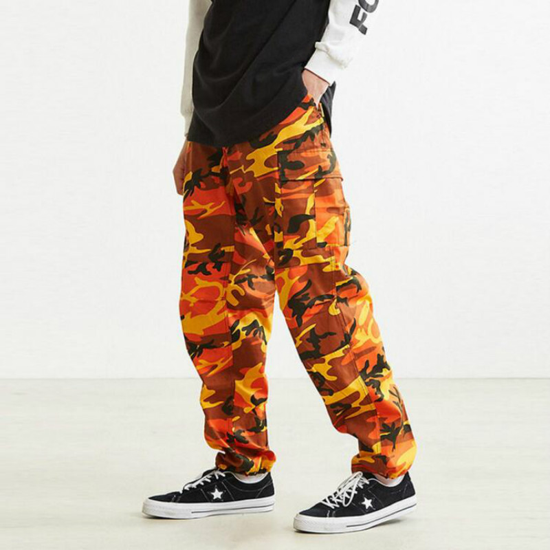 JOYINPARTY Orange pink camouflage pants-Cargo men  women's shoes High quality hip-hop Street runners Pants pair camouflage pants