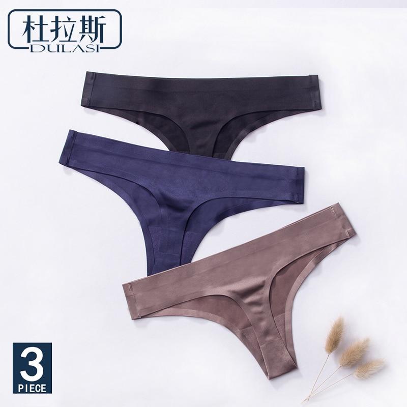 3pcs,Ice Silk Thong Panties Sexy Briefs Seamless Thongs Women Underwear Panties for Girls Ladies Panty G String Tangas DULASI