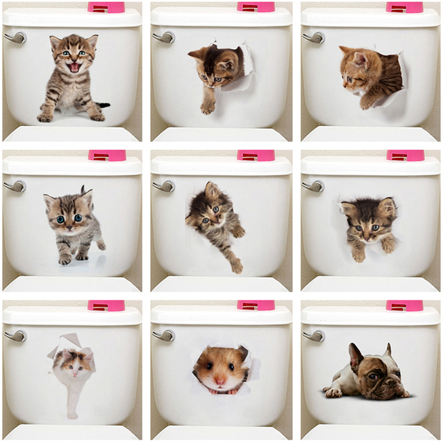 Cute Cat Toilet Stickers 10