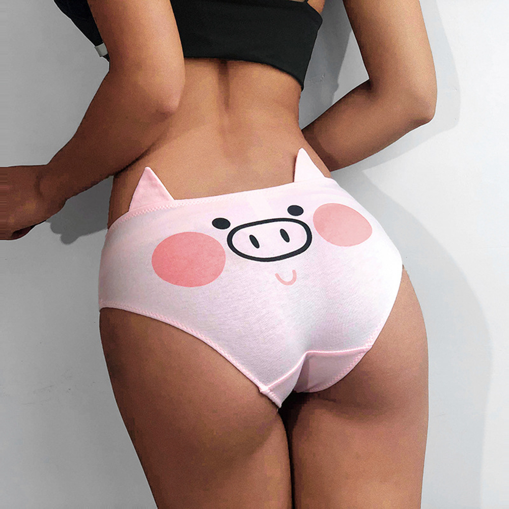 1Pcs 2019 New Women 3D Pink Pig Printing Panties Cotton Underwear With Ear Decoration Cute Shorts Briefs Sexy Panties For Girls