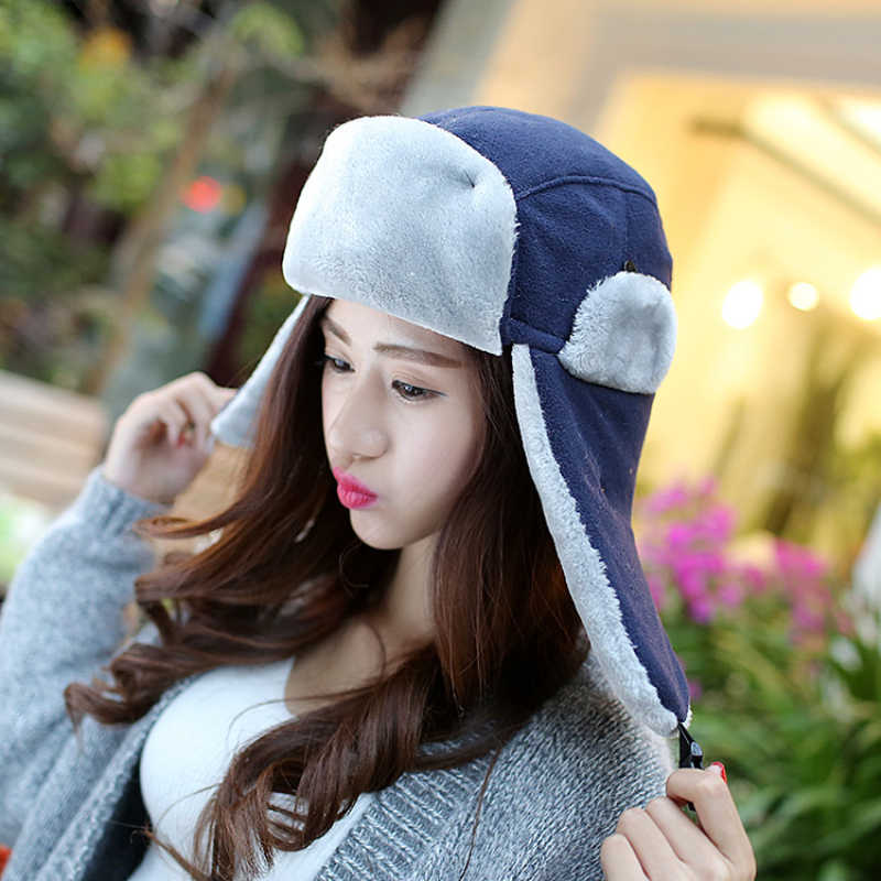 c8ec53895d0 HT020 Men Winter Hats with Earflap Warm Bomber Ushanka Russian Hat Solid  Plain Women Trooper Trapper