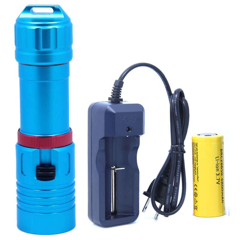 5000LM XM-L2 Waterproof Underwater 80 Meter LED Diving Flashlight Torch Lamp Light Lanterna Stepless dimming With 26650 Battery underwater 100m 10000lm xm l 5l2 stepless dimming diving flashlight waterproof led dive torch light use 2x18650 battery