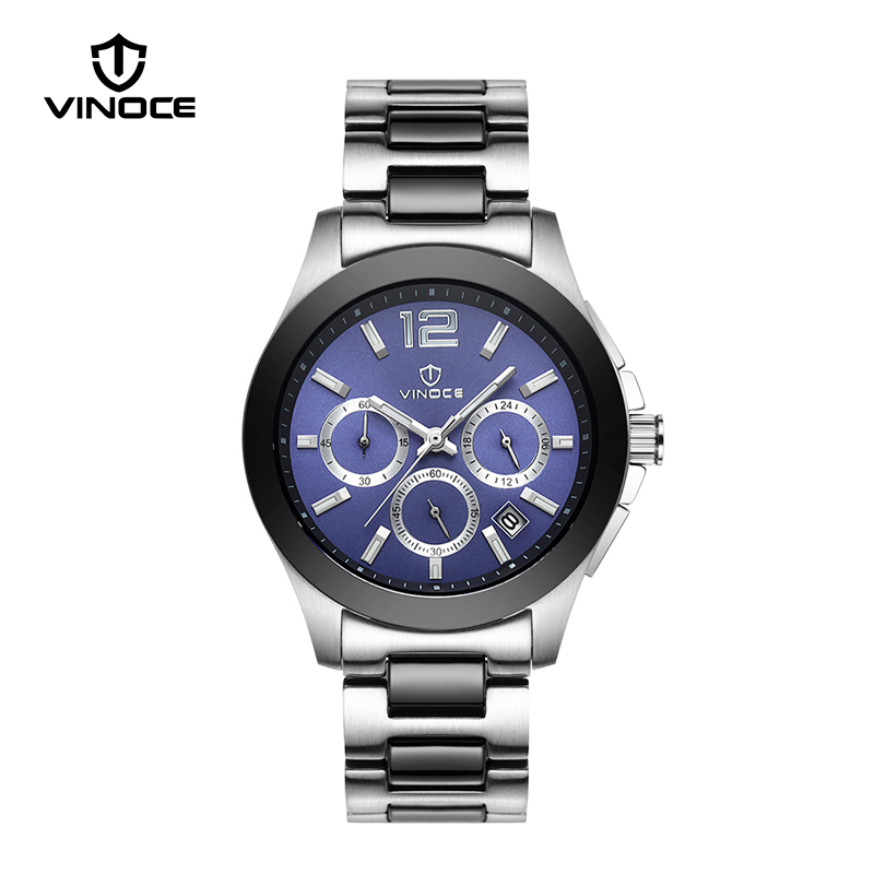 VINOCE 20Bar Waterproof Mens Sports Watches Luxury Stainless Steel Band Multifunction Chronograph Watches Relojes Hombre #633237 все цены