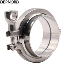 DERNORD 2Pcs Sanitary Weld Ferrule + 1Pcs 3'' Tri-Clamp + 1Pcs V-iton Gasket, stainless Steel 304 a set 76mm 3 sanitary tri clamp weld ferrule tri clamp silicon gasket end cap 304 stainless steel