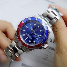 Luxury Hk Crown ยี่ห้อผู้ชายนาฬิกาหมุนได้ Bezel GMT Sapphire วันที่เหล็กกีฬาสีน้ำเงิน Dial ควอตซ์นาฬิกา Reloj hombre