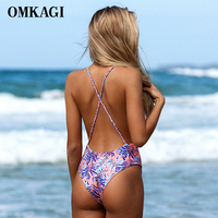 New Arrival One Piece Swimsuit 2017 Sexy Women Bathing Suit Bodysuit Swimwear Vintage Beachwear Printed Bandage