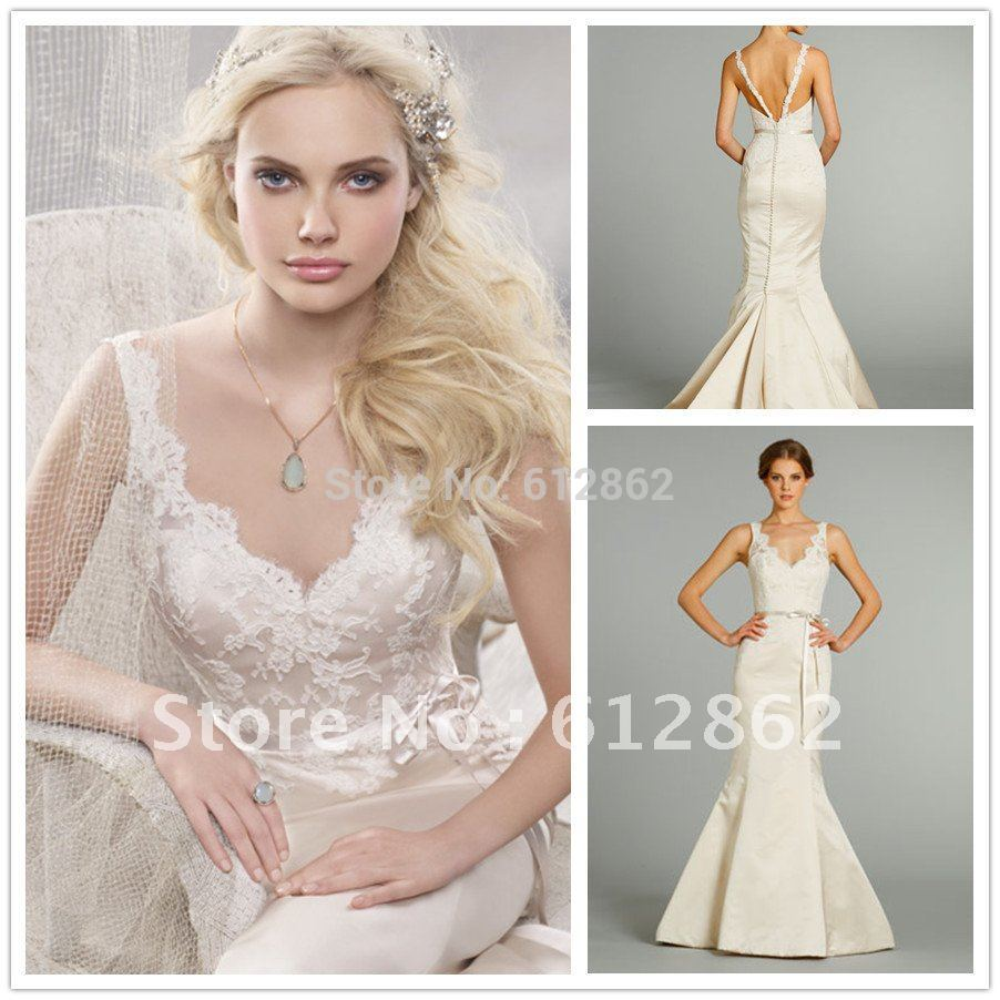Buy sexy low back mermaid lace and satin for Satin low back wedding dress