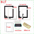 Brand NEW For Apple ipad 2 Touch Screen Digitizer Glass For ipad 3 4 TouchScreen + Home Button With 3M Ashesive