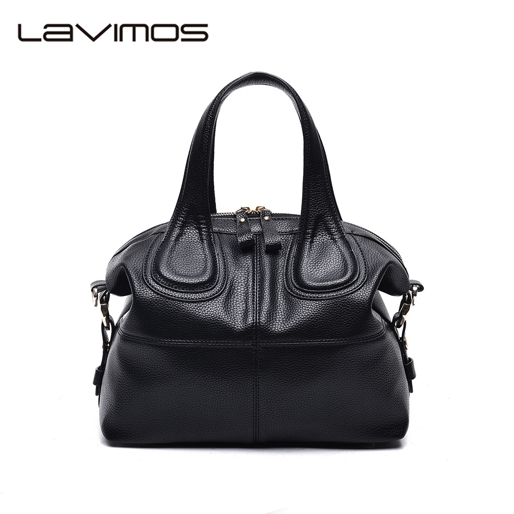 ФОТО Lavimos Blue Women Boston Leather Handbags Lady Cross-body Shoulder Bags Tote Hobo Bag Designer Bolsa Top Handle Bag For Women