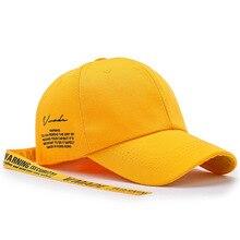 Tessellate Fashion Unisex Style Long Ribbon Letter Baseball Cap Casual Hip Hop Cap Women Men Summer Sun Hat Sport Hats Casquette