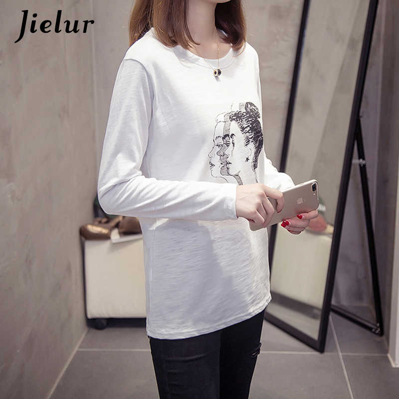 Jielur забавная футболка с длинным рукавом Осенняя Удобная хлопковая Vetement Femme 2019 корейская Стильная белая футболка женская Прямая поставка