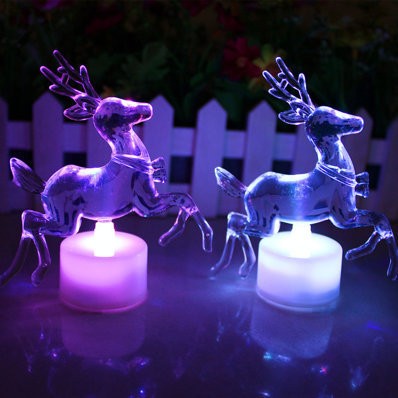 Christmas Reindeer LED LAMP Colorful Acrylic Double Flash Colorful Night Light LED Light Speed ALI88 colorful waterdrop cartoon led charging night light