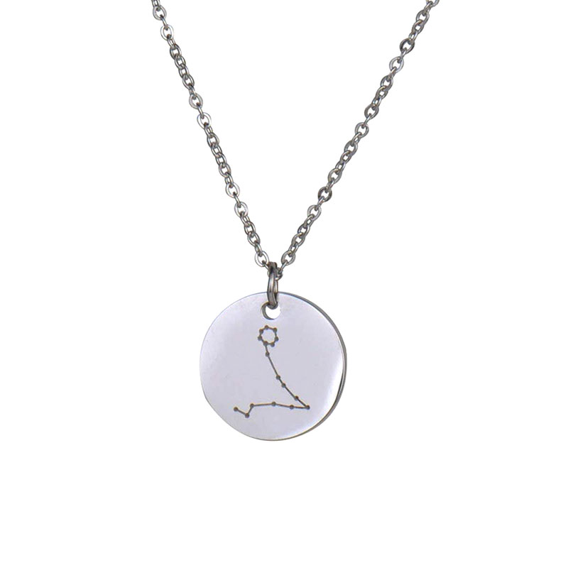 Custom Engrave Horoscope Pendant Disc Choker Necklace for Women Stainless Steel Constellation Disc Necklace Birthday Gift NL2659