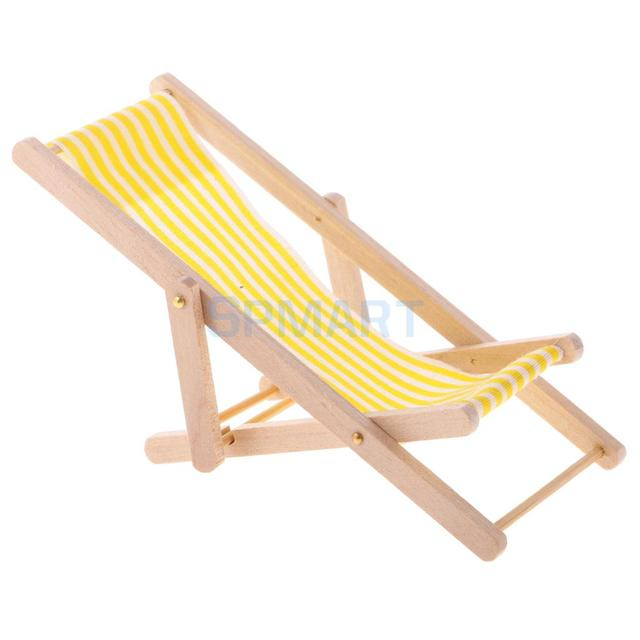 Wooden Lounge Chair Yellow White Striped For 1/12 Scale Dollhouse Miniature  Furniture