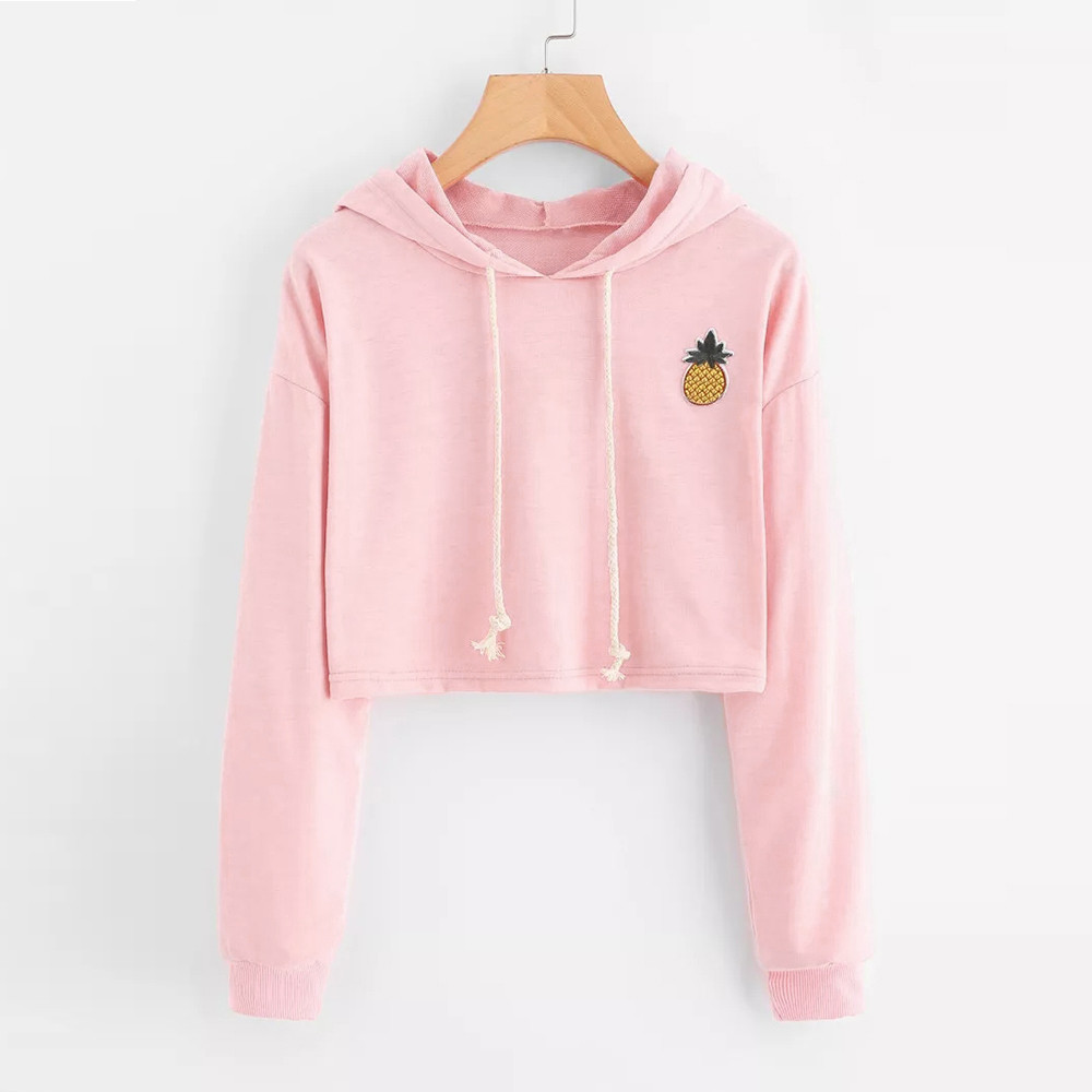 Women Hoodies Sweatshirts Long Sleeve Hooded Sweatshirt Appliques Pinapple Jumper Hooded Pullover Tops Blouse For Female  0912(China)