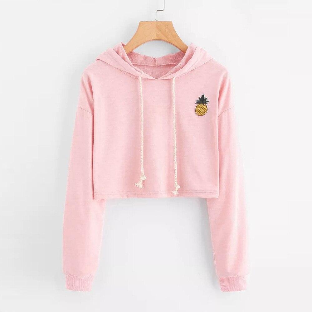 Women Hoodies Sweatshirts Long Sleeve Hooded Sweatshirt Appliques Pinapple Jumper Hooded Pullover Tops Blouse For Female 0912