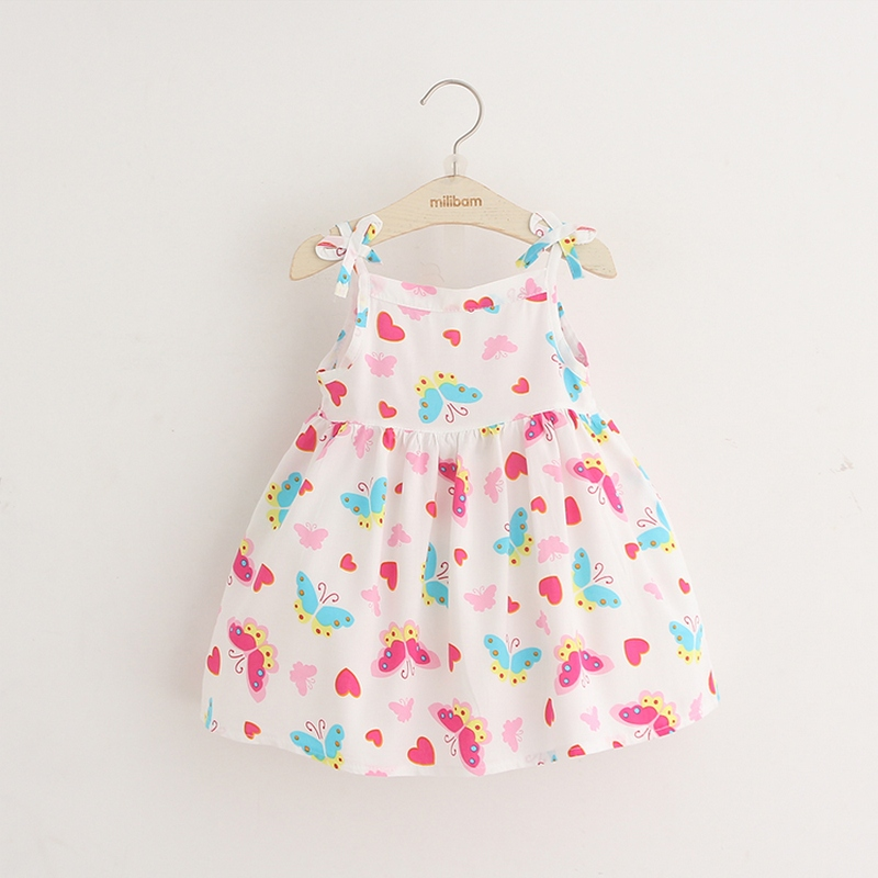 Girls dress summer 2017 new children Little Girl thin vest baby Floral Dress
