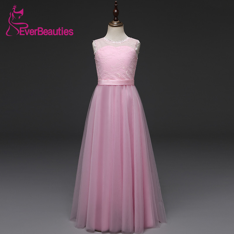 Pink Junior   Bridesmaid     Dresses   for Girls 2019 Tulle with Lace brautjungfernkleid Robe Demoiselle D'Honneur