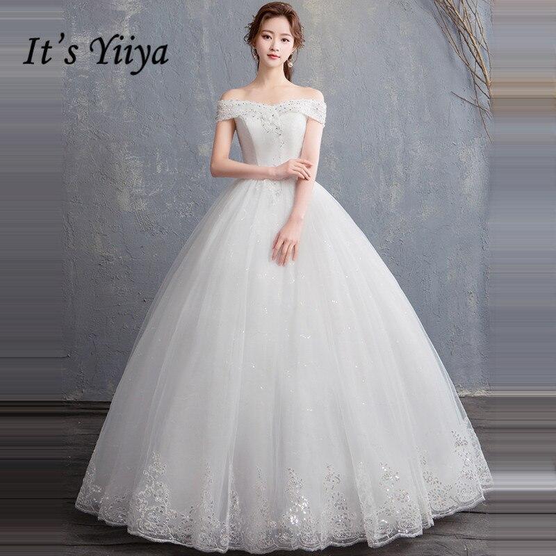 Simple Wedding Dresses Boat Neck: It's YiiYa Wedding Dresses 2019 Boat Neck Crystal Simple