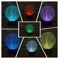 Criativo 3D Ilusão led Night Light Table Lamp com círculo mágico Bola forma de botão de toque 7 cores como presente de natal