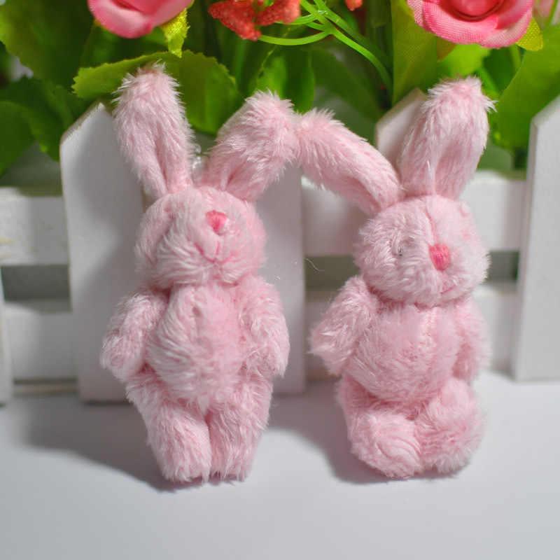 10 шт./лот 6 см 4 цвета мягкий мини-соединение кролик кулон плюшевый кролик для брелока букет из игрушек DIY украшения подарки