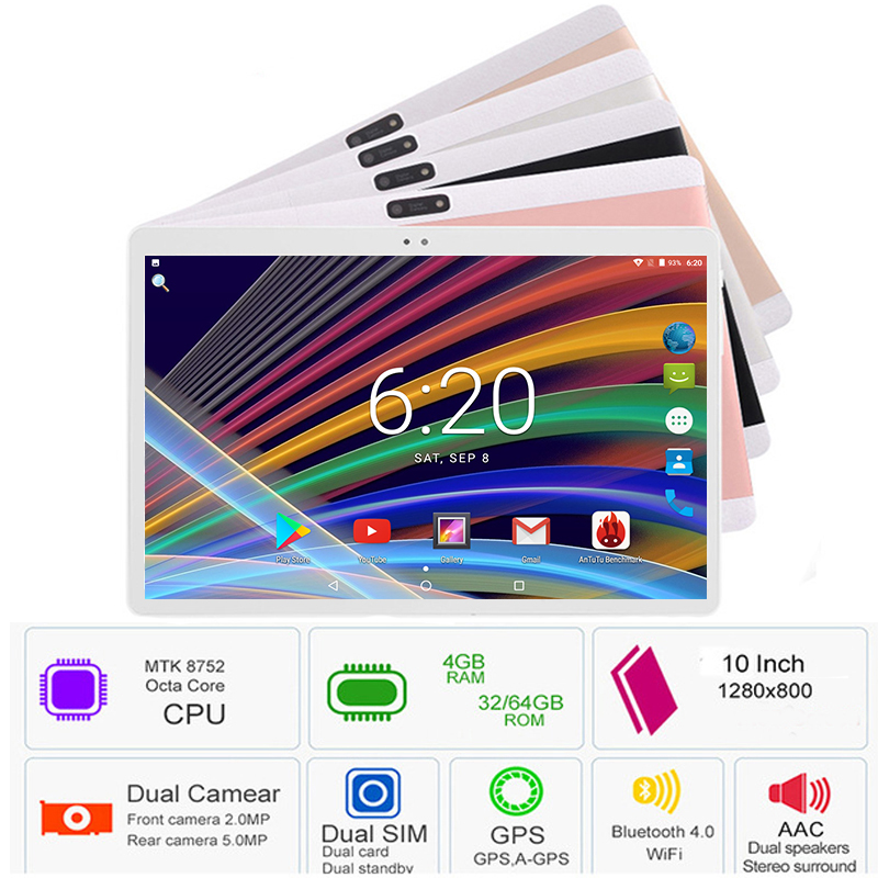 Hot Sale 2019 New 10 inch tablet PC 3G 4G LTE Android 7.0 Octa Core 4GB RAM 64GB ROM WiFi GPS 10.1 IPS 1280*800+Gifts(China)