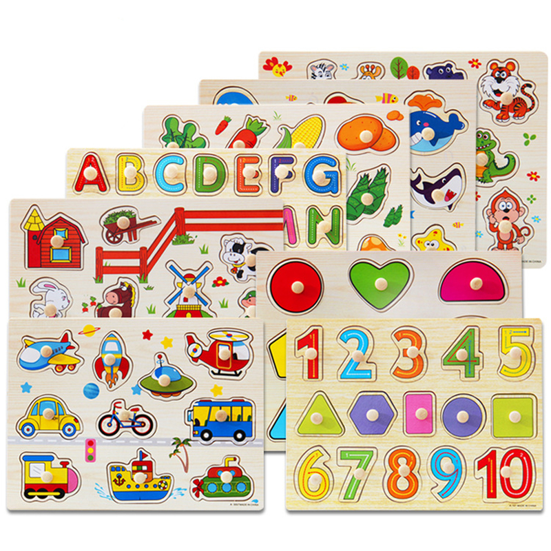 Early Educational Montessori Wooden Puzzle Hand Grab Board Jigsaw Baby Toys