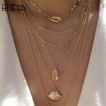 HuaTang New Trendy Gold Sequin Shell Scallop Pearl Pendant Necklaces for Women Girl Multi-layer Beach Jewelry C19408