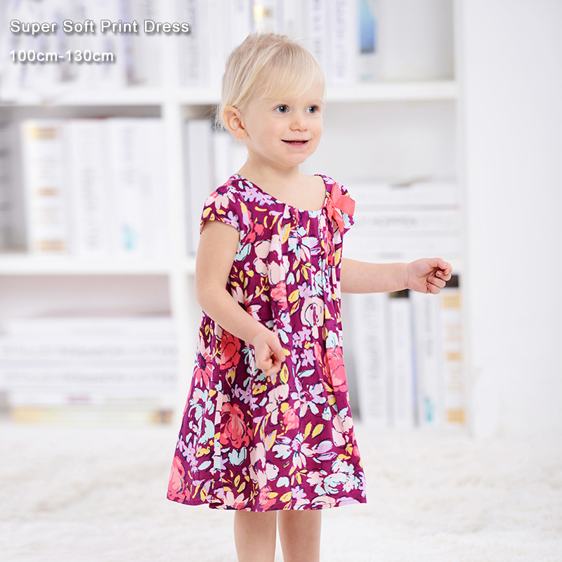 Baby Girls Dress 3-6Y Floral Print Мақта мата Softly Casual Балалар киім Балалар киім Киім Ханшайым Балалар киімі