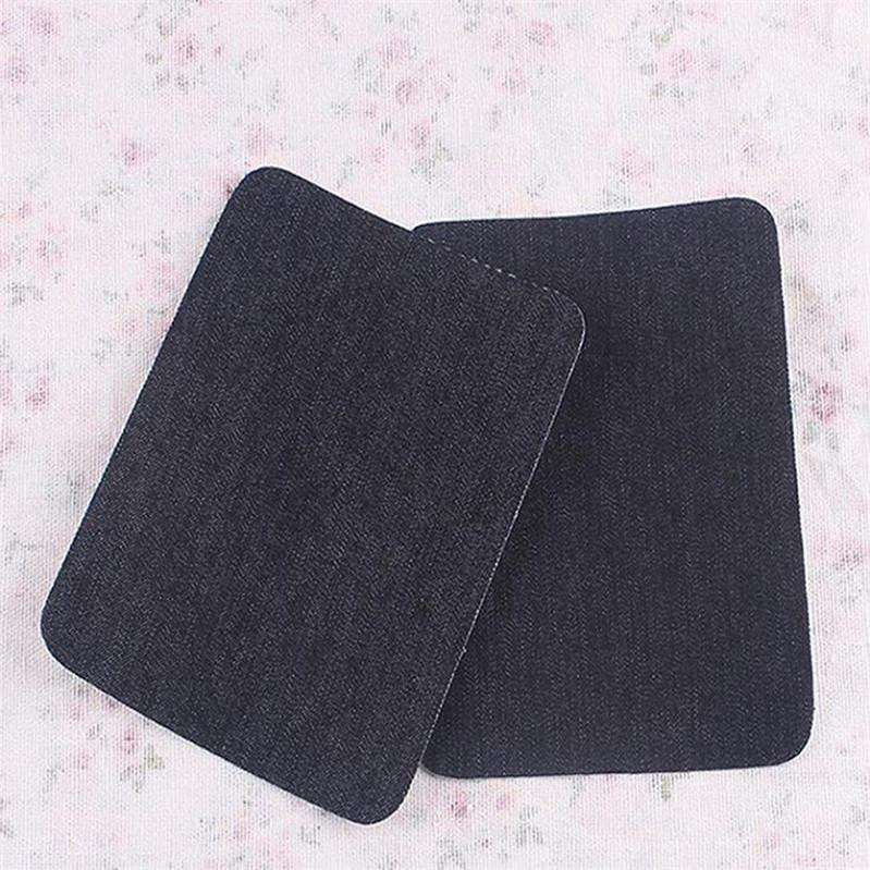 BLACK JEANS CLOTHES KNEE OR ELBOW SEWING SEW ON PATCH PATCHES 12X9cm 2pcs