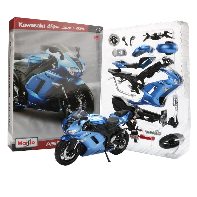 Maisto 1:12 Alloy Motorcycle Model Toy DIY Motorbike Assembly Racing Car Models Building Kits ZX 6R Collection Toys For Children