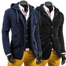 Куртка мужская приталенная с капюшоном на пуговицах лацканами