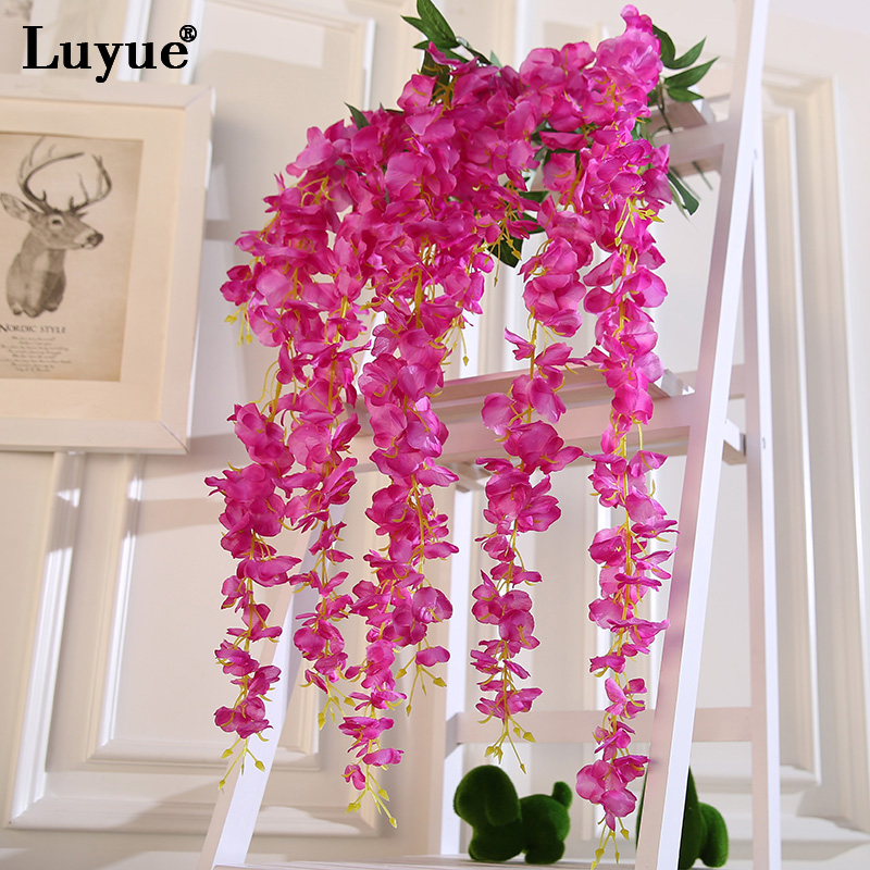 Luyue 6pcs lot artificial wisteria silk flowers green for Artificial flowers decoration home