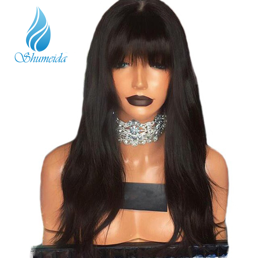 SMD 150 13 3 Lace Front Human Hair Wig With Bangs Bleached Knots Natural Wave Peruvian
