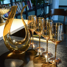 high quality Plating gold color wine cup lead free crystal red glass glassware large capacity and Decanter