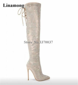 Newest Ladies Luxury Pointed Toe Bling Bling Over Knee Rhinestone High Heel Boots Back Lace-up Crystal Long Boots Wedding Shoes