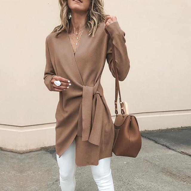 NIBESSERnew mode femmes automne blouse taille haute ceinture Cardigan couleur unie veste décontractée col en v à manches longues femmes hauts