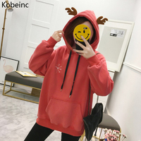 Kobeinc Hoody Christmas Deer Ears Hooded Sweatshirts For Women Loose Casual Fleeces Female Hoodies Winter Pockets