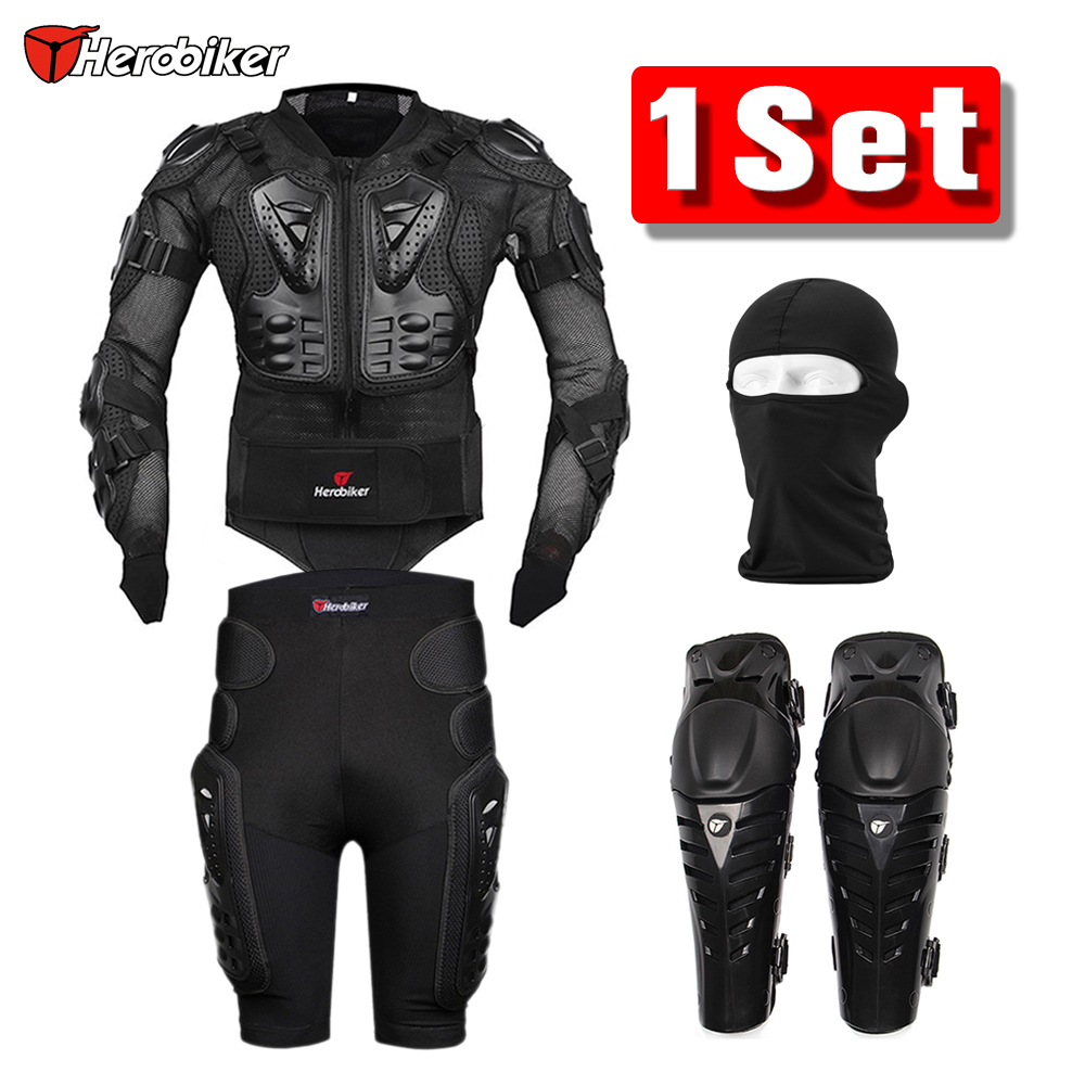 Herobiker Motorcycle Jacket Body Armor Protective Gear + Shorts Pants Hip Protector + Motocross Knee Pads + Face Mask Set Suit herobiker motorcycle body protection motocross racing full body armor gears short pants motocycle knee pad motorcycle armor