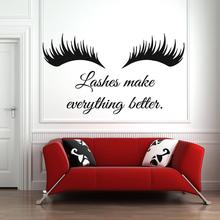 Wall Decal Eye Eyelashes Lashes Extensions Eyebrows Brows Beauty Salon waterproof vinyl stickers Quote Make Up home decor G278 art wall sticker lashes salon eyelashes decor vinyl removeable beauty salon decoration make up extensions eyebrows decal ly265