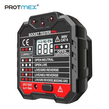 PROTMEX PT106 RCD GFCI gniazdko elektryczne Tester wycieku Test z testowaniem napięcia LCD ue wtyczka tanie i dobre opinie