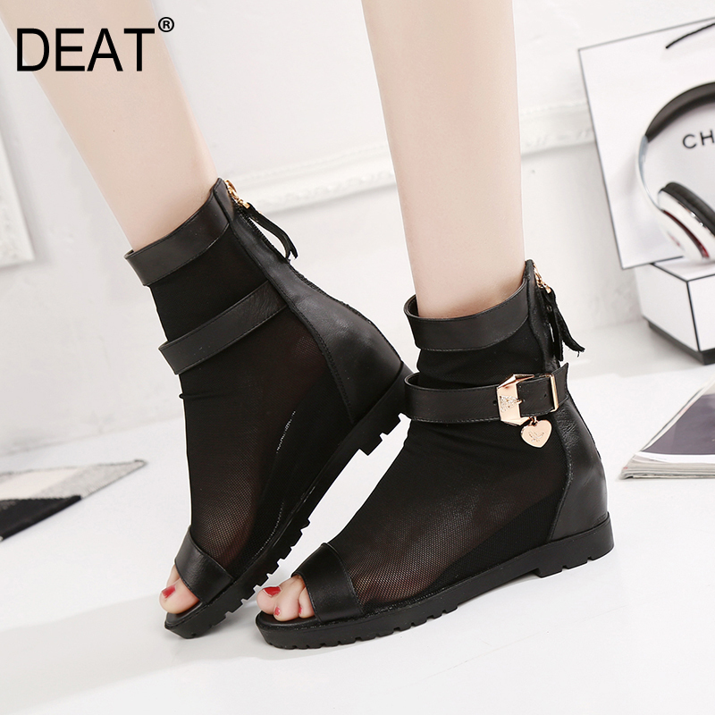DEAT 2019 New Spring Summer Round Toe Zipper Mesh Pu Leather Wedges High Heels Single