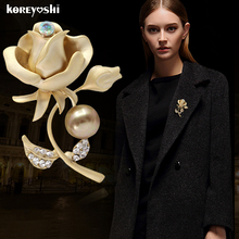 Bride Jewelry Matte gold broche Simulated-pearl Rhinestone Rose flower broches Fine Jewelry lapel pin wedding brooches for women