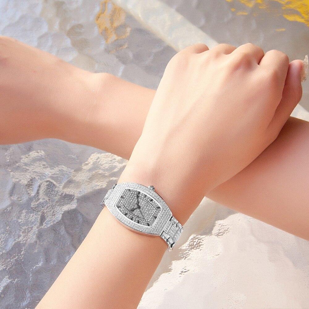 MATISSE Lady Completa Áustria Cristal Forma Tonneau Caso As Mulheres Se Vestem de Aço Strap Quarzt Moda Negócios Relógios de Pulso - 6