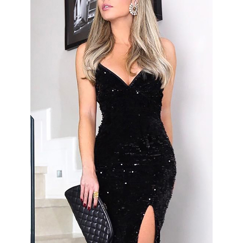 Sleeveless long sequin dress Women high slit spaghetti strap dresses Sexy V neck club party dress Maxi black sequined vestidos 5