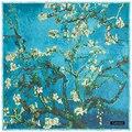 135 cm * 135 cm Grosso Morno do Inverno Das Mulheres 2016 de Moda de Nova Euro Design Van Gogh Pintura A Óleo apric Árvore Impresso Lenço Quadrado Grande xale