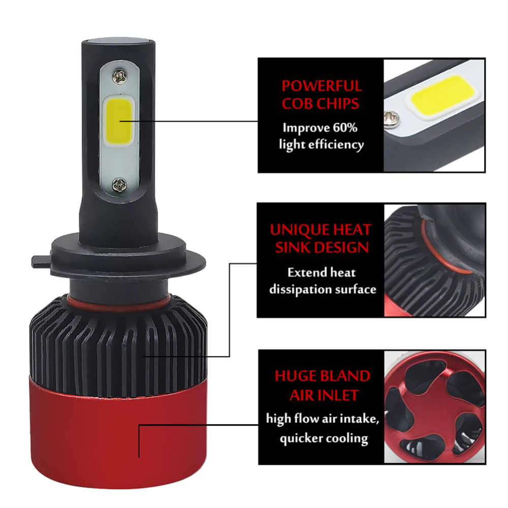One Pair H7 Led Headlight Bulb H4 H11 H1 H3 9005 HB3 9006 HB4 Led Car light 72W 8000lm 6500k Auto Fog Lamp Headlights 12V