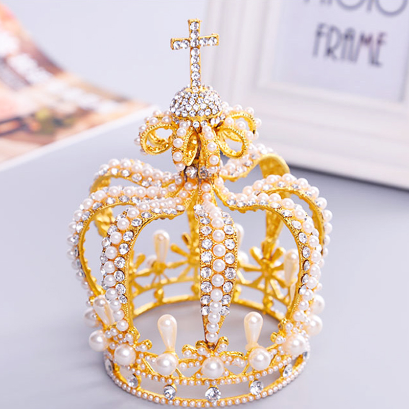 New Tall Royal Wedding Tiara Bridal Pageant Beauty Pearl Crown Tiaras Contest Rhinestone Tiara Rose Gold Color Full Crown T-042